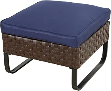 Festival Depot Dining Outdoor Patio Bistro Furniture Ottoman Footstool with Premium Fabric Soft Cushion Wicker Rattan Square