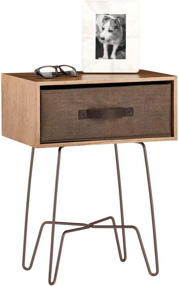Mesa de cama marrón cerezo
