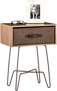 mDesign Modern Farmhouse Side/End Table with Fabric Drawer - Hairpin Legs, Wooden Top - Sturdy Vintage, Rustic, Industrial Home Decor Accent Furniture for Living Room, Bedroom - Light/Dark Brown
