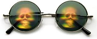 Hologram Holographic Illusion Poker Face Metal Round Sunglasses