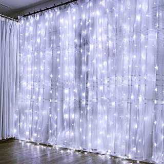 Auelife Curtain Icicle Lights, 19.5ft x 9.8ft 600 LED Fairy String Lights with 8 Modes for Wedding Christmas Holiday Party Home Decoration(White)