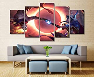 XIAOAGIAO 5 Canvas Prints 5 Panels LOL Heroic Alliance Xayah/Rakan Game Canvas Printed Painting Wall Art Decoration HD Picture Artwork Poster Painting on Canvas