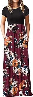 Women's Casual Sleeve O-neck Print Maxi Tank Long Dress