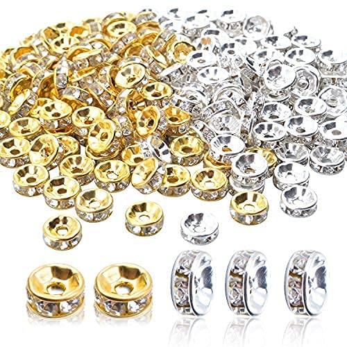 Abalorios Espaciadores,200 Piezas Cuentas Espaciadores de Cristal Abalorios Separadores- Plata y Oro,8mm
