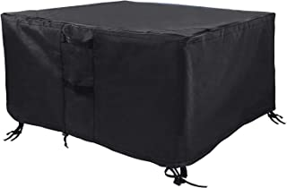 Utheer 36 Inch Square Fire Pit Cover, Waterproof 600D Heavy Duty Square Patio Firepit Table Cover with Weather Resistant, Outdoor Garden Patio Heater Cover, Black