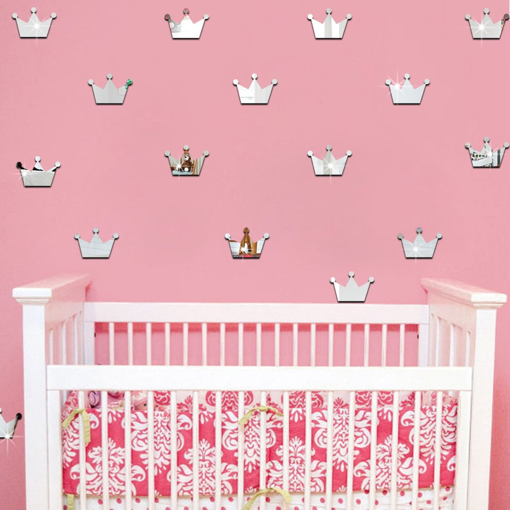 ufengke 15-Pcs 3D Max 58% OFF Max 73% OFF Silver Princess Mirror Crown Wall Effect Decal