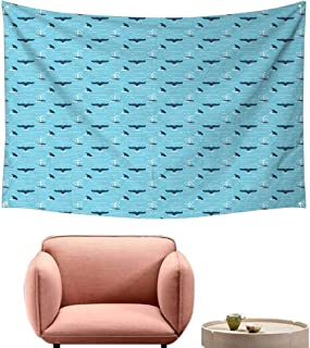 Agoza Large Wall Tapestry Whale Pattern with Whale Fins Over The Water Producing Stream While Swimming Wall Hanging Carpet Throw 74