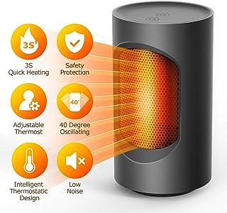 Calentador eléctrico de espacio, Calentador de espacio personal, Calentador de ventilador portátil de 600 W, Mini calentador de mesa Calentador de cerámica PTC para hogar y oficina (black)
