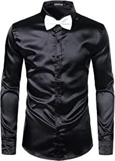 ZEROYAA Men's Luxury Shiny Silk Like Satin Button Up Dress Shirts