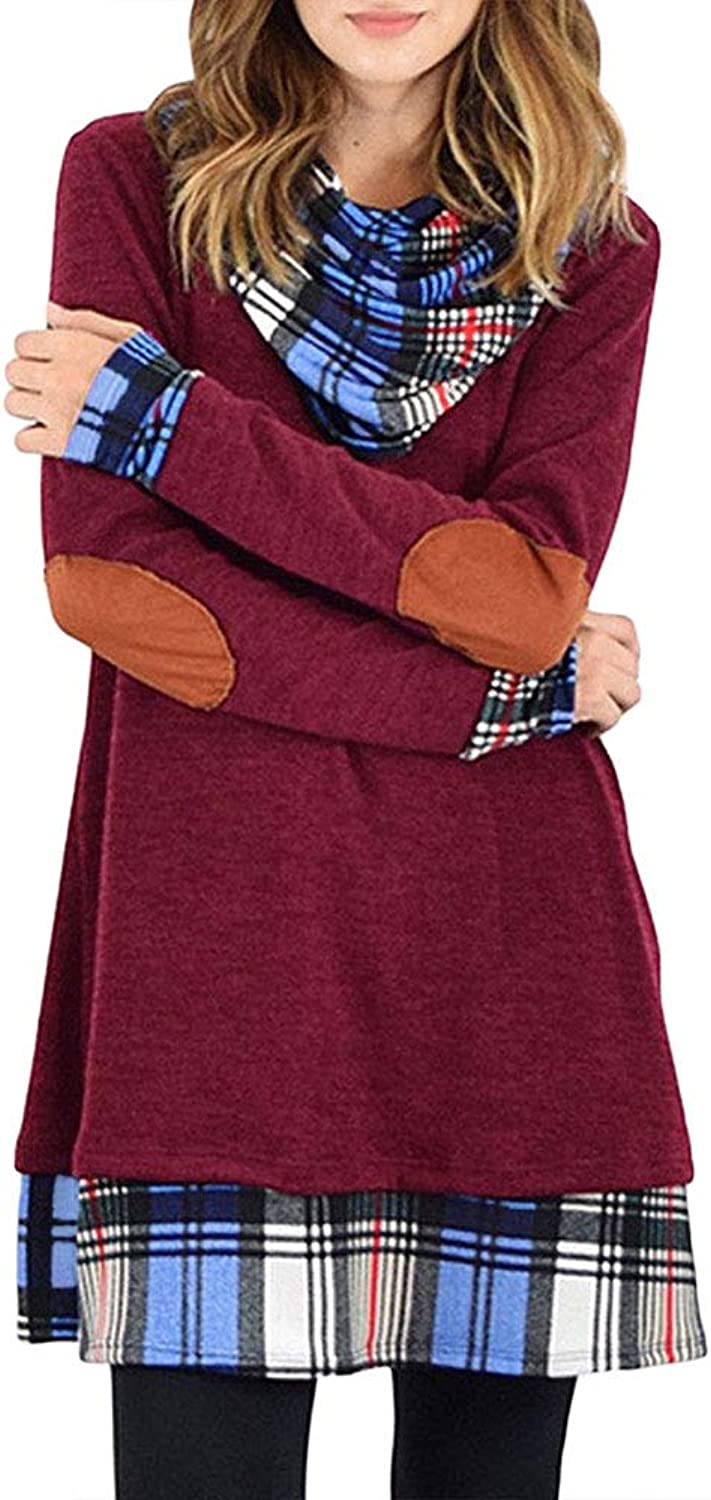Alaster Queen Women's Cowl Neck Long Sleeve Plaid Elbow Patch Casual Sweater Mini Tunic Dress for Women