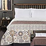 DecoKing Tagesdecke 260 x 280 cm braun orange weiß Bettüberwurf mit abstraktem Muster zweiseitig leicht zu pflegen Alhambra Schokolade White Brown Chocolate