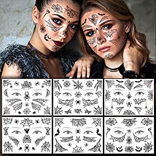 glaryyears 12 Sheets Halloween Spider Temporary Tattoos, Day of the Dead Web Bat Party Makeup for Man Women Face Body Art ...