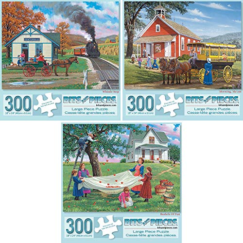 Bits and Pieces - Value Set of Three (3) 300 Piece Jigsaw Puzzles for Adults - Each Puzzle Measures 18' X 24' - 300 pc Jigsaws Whistle Shop, Morning, Ma'am, Bushels of Fun by Artist John Sloane