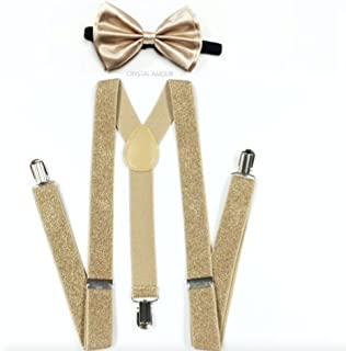 Brand New 2016 Adult Unisex Fashion Golden Glitter Champaign Suspenders Bow Tie Set