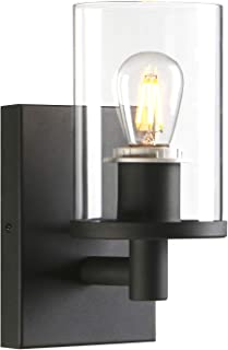 Pathson 1-Light Vintage Wall Sconce, Bathroom Wall Light with Clear Glass Shade and Metal Base, Industrial Wall Mount Light Fixtures for Bedroom Vanity Mirror Hallway Kitchen (Black)