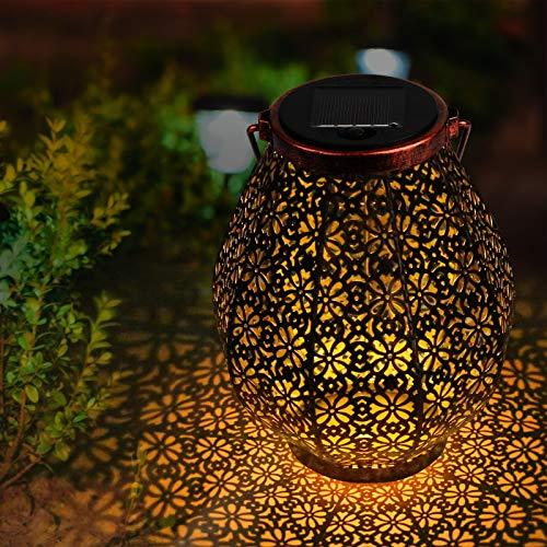 Solarlampen für Außen | infinitoo LED Solarlaterne Arabeske-Stil Dekorative Solarleuchte für Garten Wasserdicht Hängbare Solar Laterne Dekolampe im Freien für Terrasse, Weg, Hof, Rasen