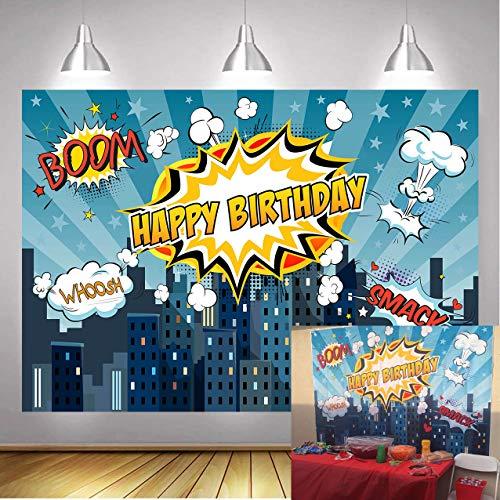 BINQOO Fondo de fotografía para fiesta de cumpleaños de superhéroe de la ciudad de 2,1 m x 1,5 m