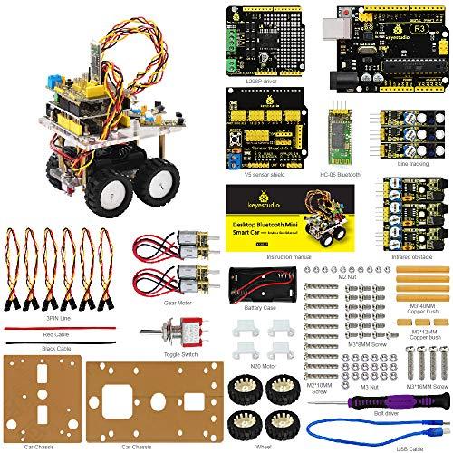 KEYESTUDIO デスクトップ 多機能 Bluetooth 車 組み立て ロボットカー スターターキット for Arduino 互換 アルドゥイーノ アルディーノ UNO ATmega328P マイコンボード キット ロボティクス おもちゃ セット