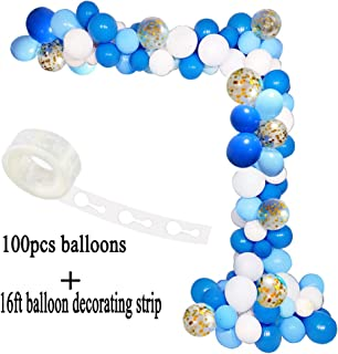 CREATEASY Blue Balloon Arch Garland Kit White Gold Confetti Balloons Garland Decorating Strip Royal Baby Shower Wedding Birthday Party Decorations