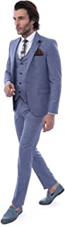 Wessi - Suit Slim Fit Suit - All - Single Button Pointed Collar Blazer Three Pieces Of Suit - Navy Blue - 44