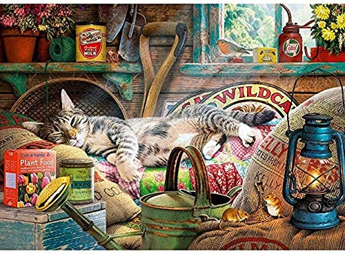 DLTYXME Jigsaw Puzzles Snoozing In The Shed 1000 Piece Animal Adults Wooden Beneficial Puzzle Men Women Adult Toy Birthday Games