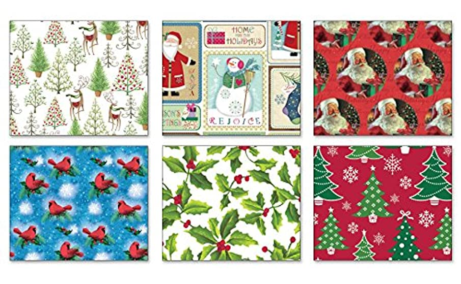 Pack of 6 Rolls of Holiday Wrapping Paper 6 Different Traditional Greetings Christmas Gift Wrap 30in x 14ft Rolls Included Xmas Reindeer, Presents, Santa, Snowmen Gift Wrap Wrapping Paper Bulk
