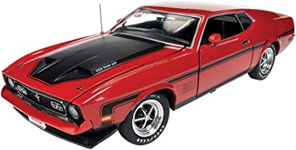 1971 Ford Mustang Mach 1 Bright Red with Black Stripes Hemmings Muscle Machines Magazine Limited Edition to 1002 Pieces Worldwide 1/18 Diecast Model Car by Autoworld AMM1150