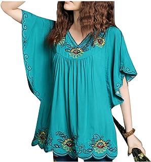 Zimaes Women Batwing Loose Short Sleeves Premium Folk Style Top Shirts