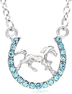 SoulBreezeCollection Horse Mustang Pony Horseshoe Necklace Pendant Lucky Charm Western Cowboy Cowgirl (Aqua Blue)