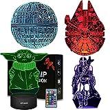 Lámpara de ilusión 3D, noche de luz para niños y niñas, lámpara de mesa de escritorio, cambio de color, lámpara de decoración (star war 4pack)