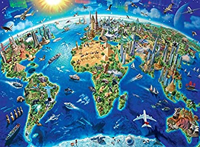 Agirlgle Wood Jigsaw Puzzles 1000 Pieces for Adults for Kids, Jigsaw Puzzles -World Landmarks Map- 1000 Pieces Jigsaw Puzzles,Softclick Technology Means Pieces Fit Together Perfectly