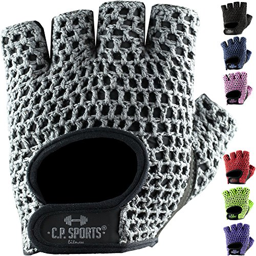 Fitness Handschuh Klassik in vielen Farben, Fitnesshandschuhe, Trainingshandschuhe, Bodybulding Handschuhe für Fitness Training C.P. Sports F3 (M, Silber/Grau)