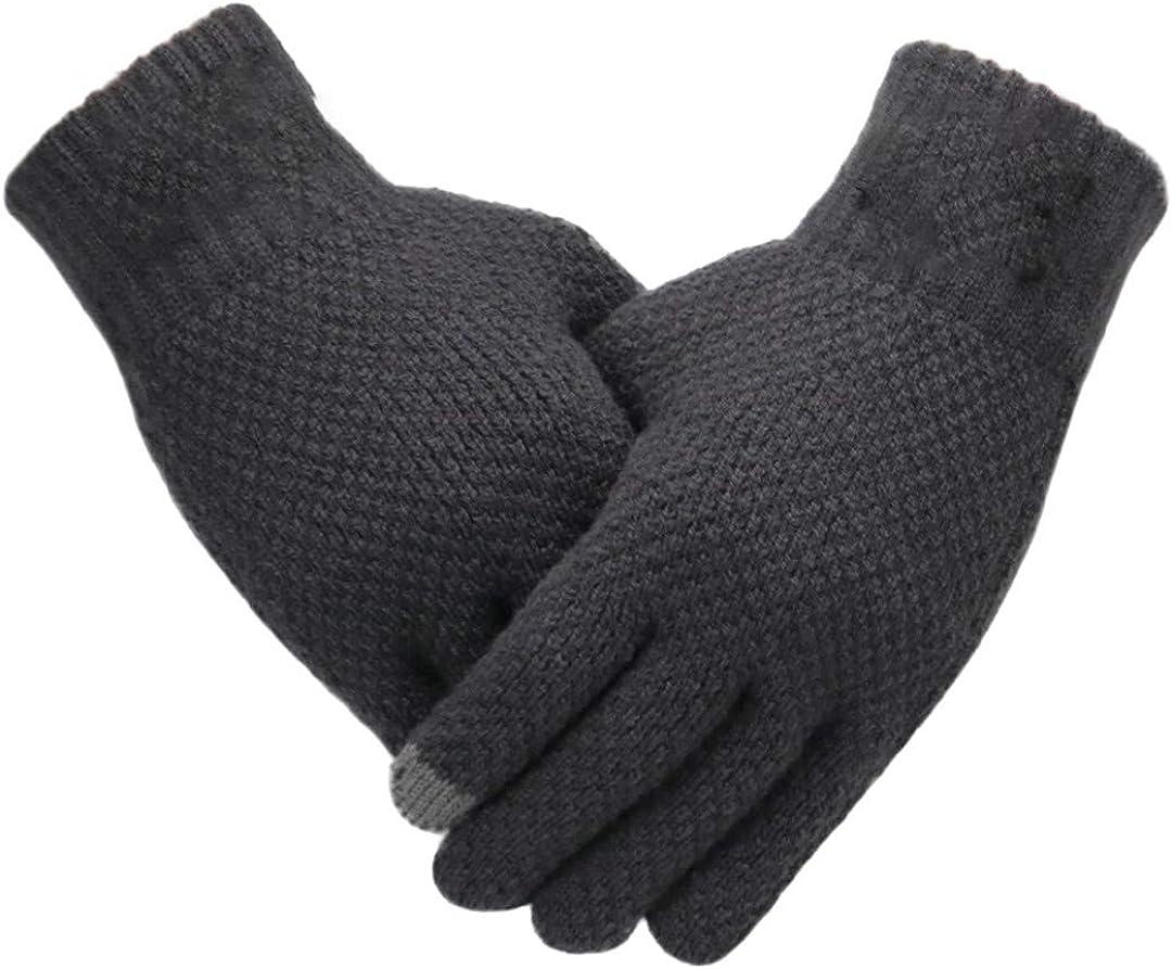 Men Knitted Gloves Touch Screen Mitten Thicken Warm Wool Business Gloves Gray One Size