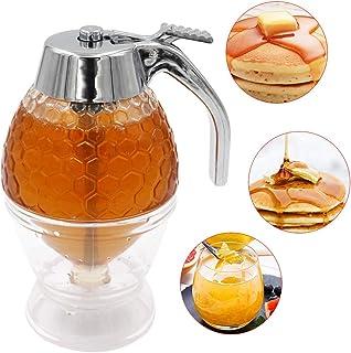 M.Z.A - Dispensador de miel, jarabe de jarabe de zumo y miel, botella exprimible, recipiente de 200 ml para miel con soporte de gatillo, herramienta para hornear sin goteo