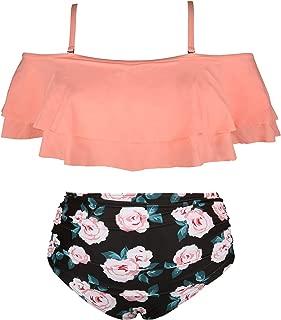 Wavely Womens Plus Size Swimwear Ruffled Bikini off Shoulder High Waist Swimsuit