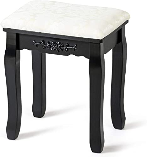 new arrival Giantex Vanity Stool Makeup Bench Dressing Stools Retro Wave Foot Floor Pad for Scratch Solid Pine online sale Wood Legs Thick Padded Cushioned Chair Piano Seat Bathroom Bedroom Large online sale Vanity Benches, Black outlet online sale