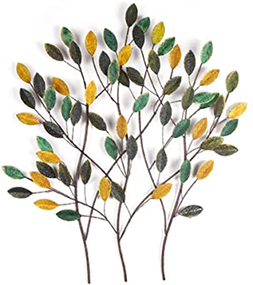 1d48e51b33 FENFOUBA Tree of Life Metal Wall Art, Golden and Green Leaves Process -for  Indoor