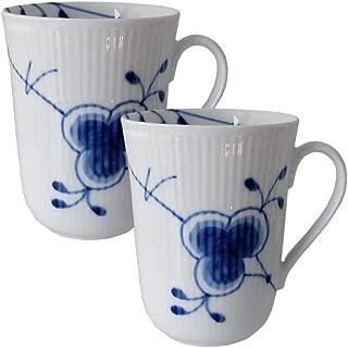 Blue Fluted Mega 11 oz. Mug (Set of 2)