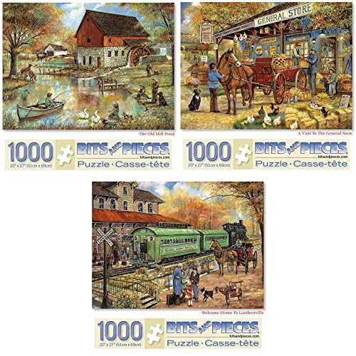 Bits and Pieces - Value Set of Three (3) 1000 Piece Jigsaw Puzzles for Adults - Each Puzzle Measures 20' X 27' - 1000 pc The Old Mill Pond, General Store, Lambertville Jigsaws by Artist Ruane Manning