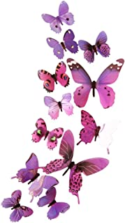 Fang-Ling 12 pcs 3D DIY Butterflies Wall Sticker, Home Room Decor New Stickers Decals Glitter Art Murals for Wall or Party Decorations (Purple)