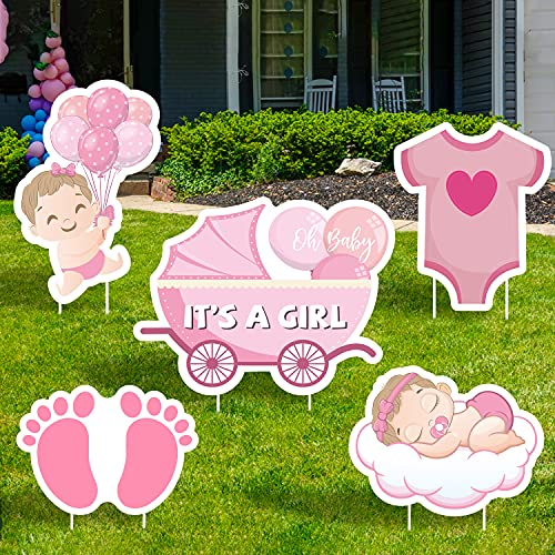 WATINC Set of 5 IT'S A Girl Yard Signs with Plastic Stakes Welcome Home Oh Baby Large Waterproof Single Sided Printing Lawn Sign Baby Shower Gender Reveal Party Decorations Supplies for Outdoor Garden