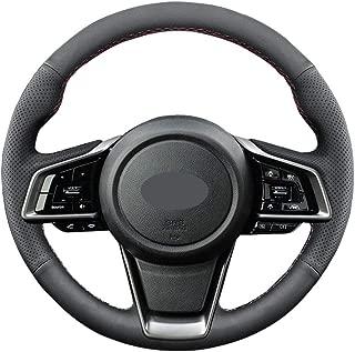 DIY Sew Black Microfiber Leather Car Steering Wheel Cover for Subaru 2018 2019 2020 Outback Ascent Crosstrek Forester Impreza Legacy (Red Thread)