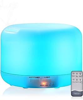 Humidificador Difusor de Aromas, 300ml Humidificador Aromaterapia Ultrasónico con Control Remoto Difusor de Aceite Esencial para Casa y Oficina con Luces LED de 7 Colores y Función de Apagado Automático