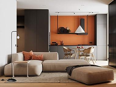 Floor Lamp for Living Room,Bedroom, in-Line On/Off Footswitch, Minimalist Design Metal Standing Lamps,Black,by ALISXM