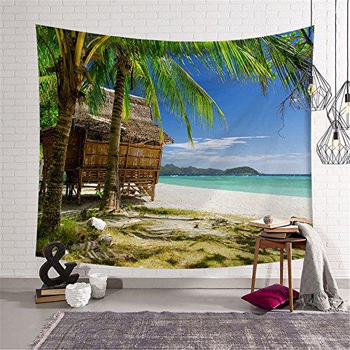 Strand wandteppich Sonnenuntergang Meer Landschaftlich Kokospalme Wandtuch Für Strandtuch Und Bettdecke, Tischdecke Dekoration 2 203x150cm