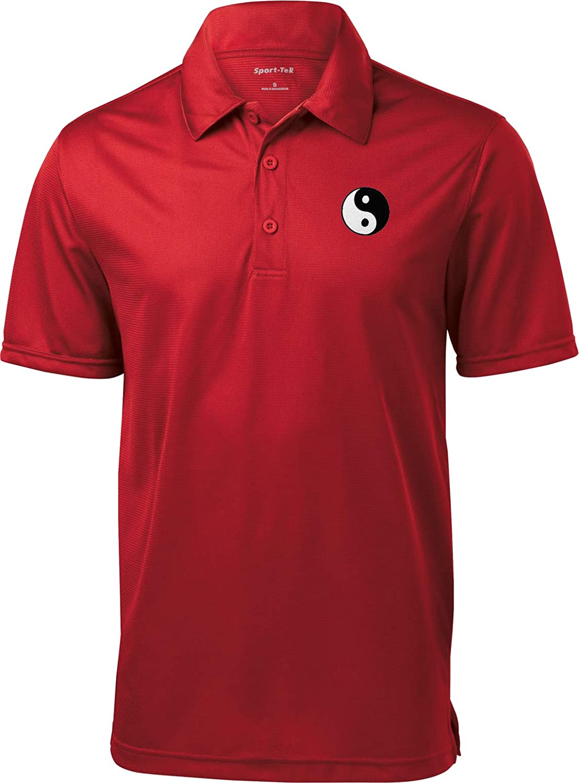 Yin Yang Pocket Print Men/'s Yoga Polo Tee T-Shirt = YINYANG-PP-K908