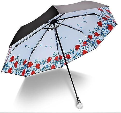 YFF@ILU Allemagne cadeau d'amoureux des fleurs et des petits oiseaux de l'écran solaire ombrelle noire parasols UV parapluies Parapluie pliant femme4313I, baromètre
