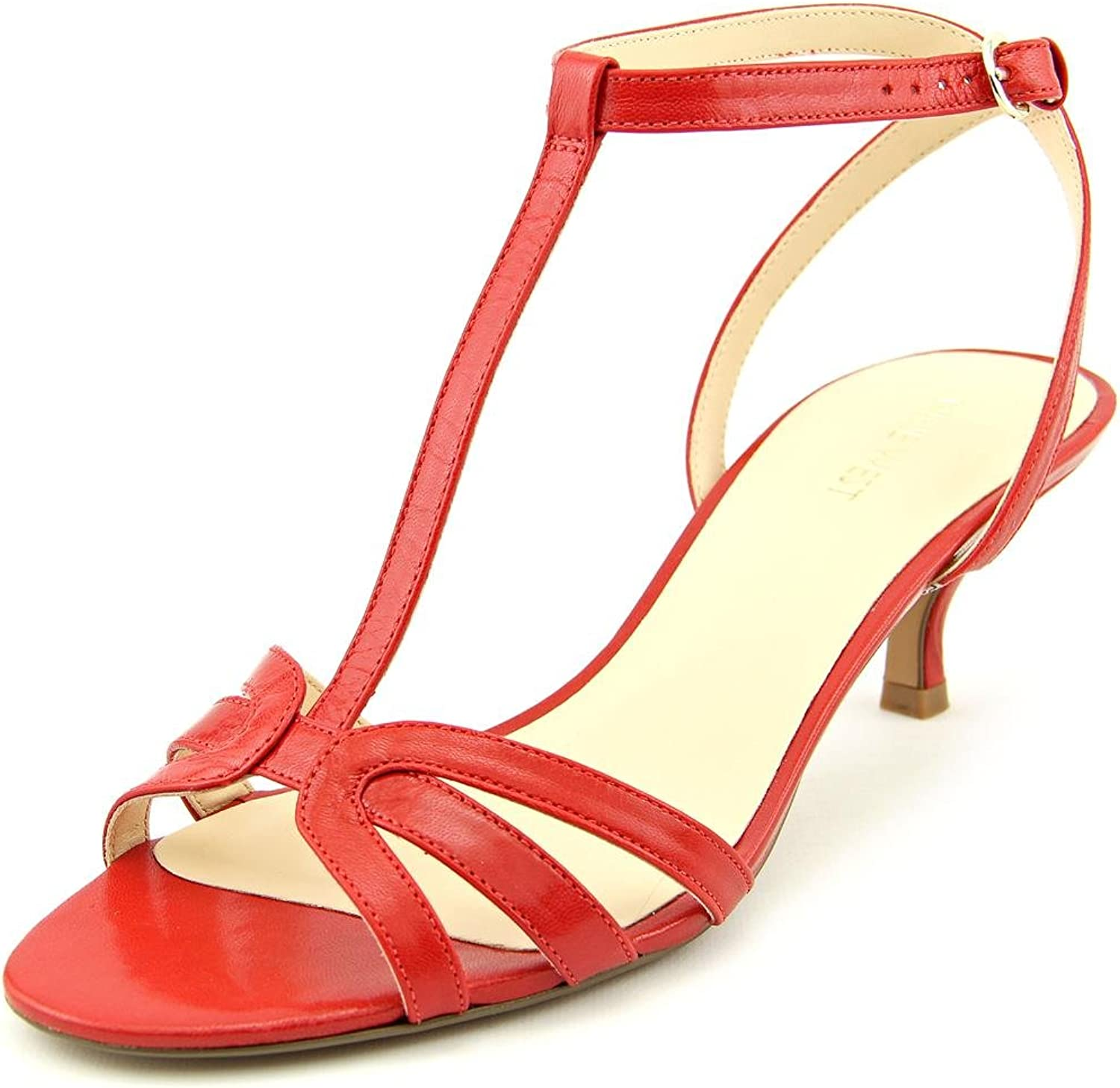 Nine West Odarlin Womens Size 5.5 Red Leather Dress Sandals shoes