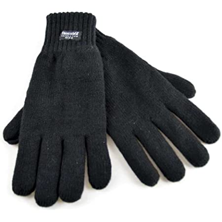 Thinsulate Gents 3M Lined Thick Quality Knitted Gloves GL130 - Black, Dark Grey