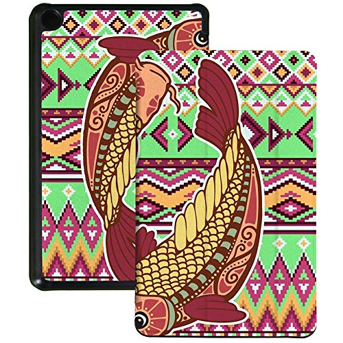QIYI Slimshell Case Fits All-New Amazon Fire 7 Tablet (9th Generation, 2019 Release) Kids Protective Cover Adjustable Stand Smart Shell for Kindle 7 Inch Tablet - Symbol of Pisces